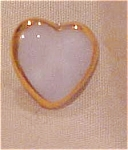 Glass heart button with gold trim
