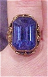 Czechoslovakian ring with blue glass