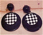 Black and checkerboard earrings