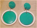 Plastic green and white earrings