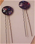 2 Lucite hairpins with confetti inside