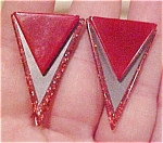 Red plastic earrings with glitter