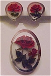 Lucite with embedded rose pin & earrings