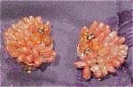 Earrings with orange glass beads