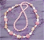 Pink murano glass bead necklace