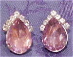 Lavendar and clear rhinestone earrings