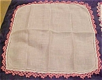 Handkerchief with pink crocheted edging