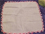 Handkerchief with pink edging