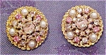 Art rhinestone & Faux pearl earrings