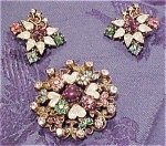 Rhinestone pin and earring set