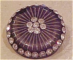 Plastic button with rhinestones