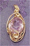 14k gold wire pendant with amethyst