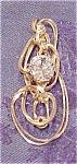 14k gold wire pendant w/cubic zirconia