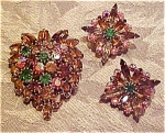 Click here to enlarge image and see more about item x3716: Multi colored rhinestone pin & Earrings