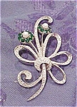 Flower pin with rhinestones & faux pearls