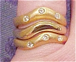 3 rings with rhinestones