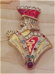 King pin with enameling & rhinestones