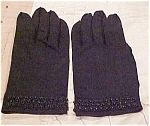 Black beaded cotton gloves