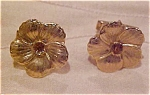 Flower cufflinks with rhinestones