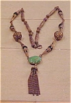 Click to view larger image of Czechoslovakian necklace with green glass (Image1)