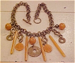 Brass necklace with amber
