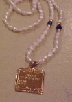 Click to view larger image of Freshwater pearl necklace w/birth cert. charm (Image1)