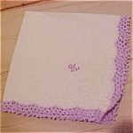 Handkerchief with lavendar enbroidered edging