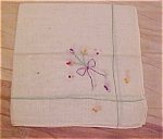 Click here to enlarge image and see more about item x5228: Handkerchief with bow and flower design
