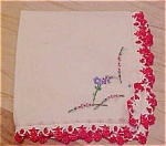 Click here to enlarge image and see more about item x5229: Handkerchief with red embroidered edging