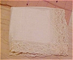 Click here to enlarge image and see more about item x5233: Linen handkerchief with lace edging