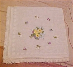 Click here to enlarge image and see more about item x5242: Handkerchief with flower embroidery