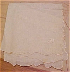 Handkerchief with flowers and scalloped edge