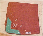 Click here to enlarge image and see more about item x5245: Brown handkerchief with embroidery