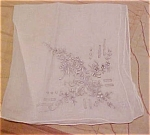 Click here to enlarge image and see more about item x5246: Handkerchief with grey flower embroidery