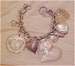 Plastic charm bracelet with hearts