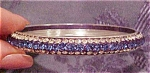 Blue and clear rhinestone bangle