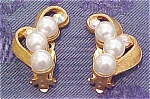 Goldtone earrings with rhinestones