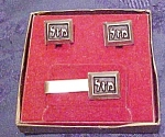 Mazel cufflinks and tie bar in box