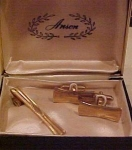 Anson brass cufflinks and tie bar in box