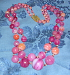 Double strand pink glass necklace