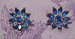 Trifari blue flower rhinestone earrings