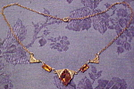Czechoslovakian necklace with topaz glass