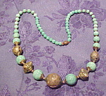 Czechoslovakian green glass necklace