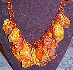Celluloid leaf necklace