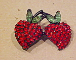 Double strawberry rhinestone pin