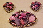 Pink and purple pin and earring set