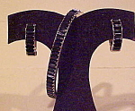 Blk/wh rhinestone bangle & earrings