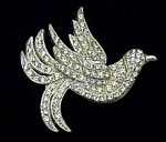 Rhinestone bird brooch