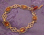 Czechoslovakian bracelet with topaz glass