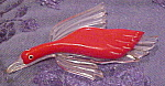 Lucite and Red Bakelite Bird brooch